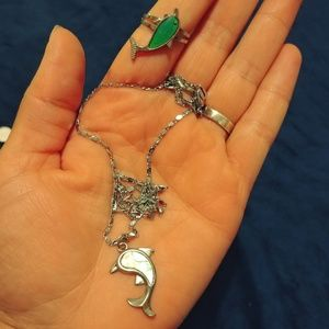 Dolphin necklace and ring
